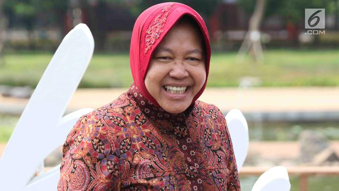 Wali Kota Surabaya Tri Rismaharini saat peluncuran gerakan Jaga Bhumi periode ke-2 di Jakarta, Rabu (21/11). Gerakan ini memiliki slogan 'Kembalikan Kejayaan Alam Indonesia'. (/Immanuel Antonius)