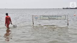 Petugas membawa jaring saat mencari ubur-ubur di Pantai Lagoon, Ancol Taman Impian, Jakarta, Rabu (9/10/2019). Pihak Ancol telah memasang jaring agar ubur-ubur itu tidak sampai ke tempat warga yang sedang berenang. (merdeka.com/Iqbal Nugroho)