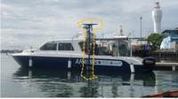 Kapal ARA Multi-Beam Echo Sounder(ditandai dengan garis putus-putus warna kuning)  (Dok:Kedutaan Korsel)