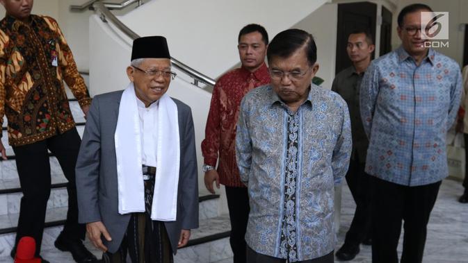 Wakil Presiden terpilih Ma'ruf Amin usai menemui Wakil Presiden Jusuf Kalla di Kantor Wakil Presiden, Jakarta, Kamis (4/7/2019). Pertemuan JK dan Ma'ruf hari ini diketahui untuk bertukar informasi terkait tugas sebagai wakil presiden. (Liputan6.com/Angga Yuniar)