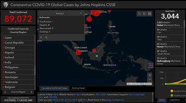 Peta persebaran Virus Corona COVID-19 yang kini menuliskan Indonesia di dalamnya. (gisanddata.maps.arcgis.com)