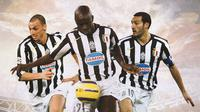 Juventus - Zlatan Ibrahimovic, Lilian Thuram, Gianluca Zambrotta (Bola.com/Adreanus Titus)