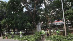 Suasana saat petugas memangkas dahan pohon yang rimbun di sepanjang Jalan Lenteng Agung Raya, Jakarta Selatan, Rabu (2/1). Pemangkasan dilakukan guna mencegah pohon tumbang akibat musim hujan dan angin kencang. (Liputan6.com/Immanuel Antonius)