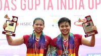 Greysia Polii/Apriyani menundukkan Jongkolphan Kittiharakul/Rawinda Prajongjai (Thailand), pada final India Terbuka 2018 dengan skor 21-18, 21-15, Minggu (4/2/2018). (PBSI)