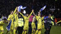 Pemain Tottenham Hotspur merayakan keberhasilan setelah menahan imbang Sheffield United (Reuters)