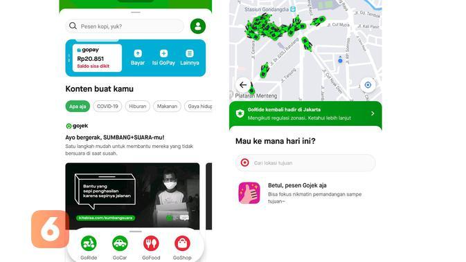 Layanan GoRide kembali hadir di aplikasi Gojek (Foto: Dok. Liputan6.com)