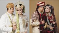 Adly Fairuz dan Angbeen Rishi dalam busana pernikahan (Sumber: Instagram/angbeenrishi/adlyfayruz)