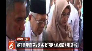Selain disambut menggunakan acara adat, Ma'ruf Amin diberi kalung dan badik bersama istrinya yang menjadi simbol keberanian adat Makassar sebelum diberi gelar karaeng atau raja.