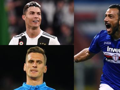 Quagliarella semakin kokoh di daftar teratas pencetak gl terbanyak Serie A musim 2018/19. Kini raihan gol nya semakin menjauhi para kompetitor. Bomber Sampdoria kini telah mengmas 26 gol, selisih 5 gol dari mega bintang Juventus, Cristiano Ronaldo. (Kolase Foto AFP)