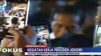 Ribuan warga menyambut kedatangan Jokowi saat menuju Pasar Badung yang baru saja selesai direnovasi setelah terbakar tahun 2016 lalu.