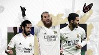 Isco, Sergio Ramos dan Eden Hazard. (Bola.com/Dody Iryawan)