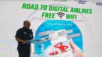Maskapai berbiaya hemat (LCC) Citilink Indonesia resmi mengumumkan aktivasi inflight connectivity yaitu fasilitas wifi gratis dalam penerbangan. (Foto:Merdeka.com/Wilfridus S)