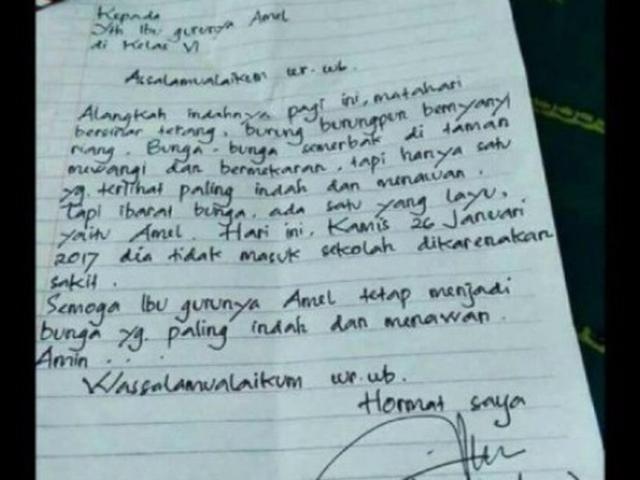 Balasan Surat Izin Sakit Dari Guru Amel Ternyata Lebih Dramatis Citizen6 Liputan6 Com