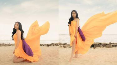 6 Pemotretan Prilly Latuconsina di Pinggir Pantai Ini Bak Artis Bollywood
