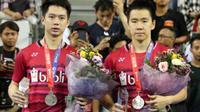 Ganda putra Indonesia, Kevin Sanjaya Sukamuljo/Marcus Fernaldi Gideon, mengaku kalah di final Korea Terbuka Super Series 2017 karena faktor kesalahan sendiri. (dok. PBSI)