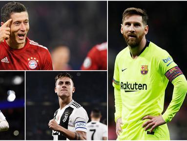Lionel Messi dan Robert Lewandowski untuk sementara menempati posisi teratas pencetak gol terbanyak dengan koleksi 6 gol. Berikut pemain yang menjadi pesaing mereka dalam perburuan gelar top scorer Liga Champions 2018. (Foto-foto AP dan AFP)