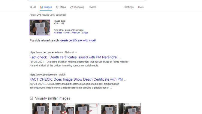 Cek Fakta Liputan6.com menelusuri klaim foto PM Modi pada sertifikat kematian India