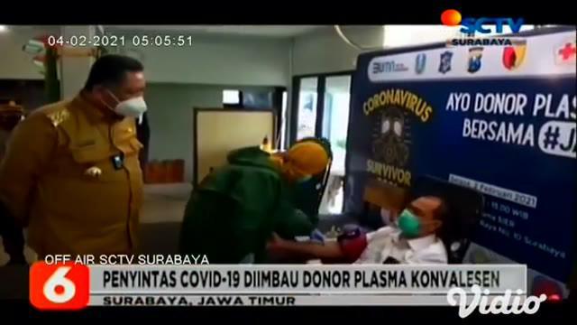 Guna menekan angka penyebaran dan kematian akibat Covid-19, Pemkot Surabaya menggelar donor darah dan donor plasma konvalesen pada Selasa siang (02/2) di Wisma Sier.
