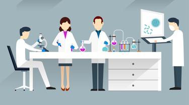 Ilustrasi Ilmuwan, Peneliti, Penelitian, Laboratorium