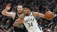 Giannis Antetokounmpo (34) memimpin Bucks kalahkan Celtics pada semifinal Wilayah Timur NBA (AP)