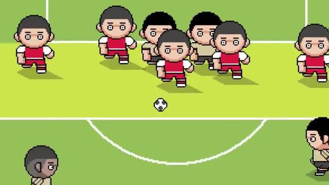 Berita video Gorila Sport yang menampilkan momen gol bintang Manchester United, Paul Pogba, di Premier League 2019-2020 dalam versi gim video 8 bit.