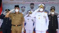 Prosesi peringatan HUT TNI di Kalimantan Utara.