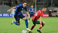 Timnas Italia harus puas bermain imbang 1-1 kontra Bulgaria pada laga lanjutan Grup C kualifikasi Piala Dunia 2022 zona Eropa di Artemio Franchi, Jumat (3/9/2021) dini hari WIB. (AFP/Alberto Pizzoli)