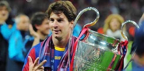 Lionel Messi meraih gelar Liga Champios, trofi yang tidak pernah didapatkan Diego Maradona selama berkarier di Eropa. (AFP/Lluis Gene)