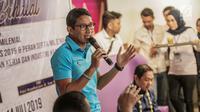 Sandiaga Uno saat berbicara dalam acara diskusi milenial di kawasan Jakarta, Minggu (14/7/2019). Diskusi bertema 'Sikap Milenial Pasca Pilpres 2019 & Peran Serta Milenial dalam Menciptakan Lapangan Kerja dan Industri Kreatif'. (Liputan6.com/Faizal Fanani)