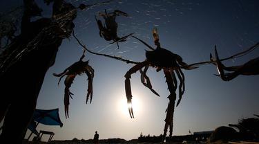 Nelayan Palestina menangkap kepiting di pantai laut Mediterania di Beit Lahyia, Jalur Gaza utara pada 21 September 2020. (AP Photo / Hatem Moussa)