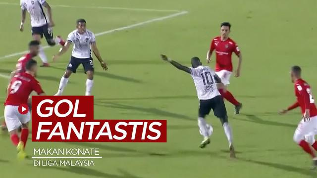Berita video momen gol fantastis eks pemain Persib Bandung dan Arema FC, Makan Konate, di Liga Super Malaysia 2021, Jumat (16/4/2021) malam hari WIB.