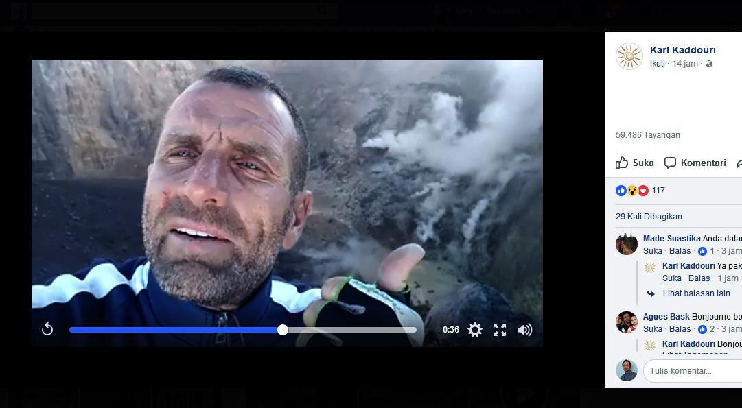 Ada warga asing melalui akun Facebook, Karl Kaddouri, mengunggah video yang memperlihatkan kondisi kawah Gunung Agung. Video diunggah pada Jumat, 6 Oktober 2017. (Capture: Facebook/Karl Kaddouri)