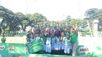 SD Inpres Paccerakkang Makassar juara Milo Football Championship 2018 untuk  untuk Kota Makassar. (Liputan6.com/Adyaksa Vidi)