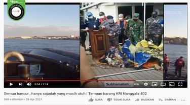 Gambar Tangkapan Layar Video yang Diklaim Sajadah Milik Awak KRI Nanggala 402 Ditemukan Masih Utuh (sumber: YouTube)
