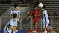Duel Timnas Indonesia U-16 vs Timnas Kepulauan Mariana Utara U-16 di Stadion Madya, Jakarta, Rabu (18/9/2019), dalam penyisihan Grup G kualifikasi Piala AFC U-16 2020. (Bola.com/Yoppy Renato)