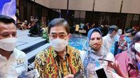 Wakil Ketua Umum Kadin Indonesia Bidang Pengembangan Pengusaha Nasional Arsjad Rasjid saat hadir dalam pelantikan Ketua Kadin Kota Samarinda, Senin (6/4/2021).