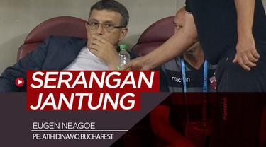 Berita video insiden pelatih klub Rumania, Dinamo Bucharest, Eugen Neagoe, mengalami serangan jantung saat pertandigan berlangsung.