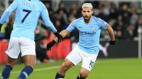 4. Sergio Aguero (Man City) - 11 gol dan 6 assist (AFP/Paul Ellis)