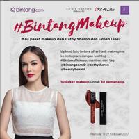 Mau paket makeup dari artis cantik Cathy Sharon dan Urban Line? Caranya gampang, kamu hanya perlu ikut #BintangMakeup. (Foto: