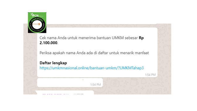 Cek Fakta Liputan6.com menelusuri informasi daftar penerima bantuan UMKM sebesar Rp 2,1 juta
