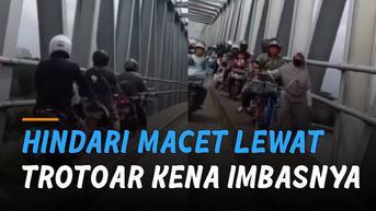 VIDEO: Niatnya Hindari Macet, Pemotor Lewat Trotoar Kena Imbasnya