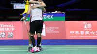 Ekspresi ganda putri Indonesia, Greysia Polii/Apriyani Rahayu, setelah kalah dari pasangan Jepang, Mayu Matsutomo/Wakana Nakagara, pada semifinal Piala Sudirman 2019, di Nanning, China, Sabtu (25/5/2019). (PBSI)