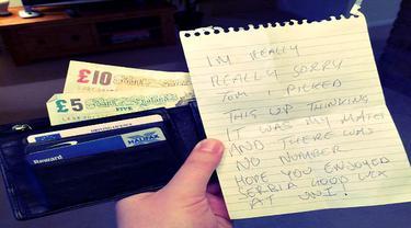 Dompet Kembali ke Pemiliknya Dilengkapi Catatan Pengirim Anonim