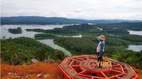 Salah satu spot menarik di lokasi wisata Bukit Kelok Indah, di Desa Pulau Gadang, Kecamatan XIII Koto Kampar, Kabupaten Kampar. (Riauonline.co.id)