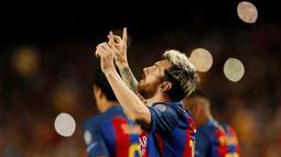 Hattrick Lionel Messi ke gawang Manchester City, Kamis (20/10/2016) dini hari WIB, merupakan yang ke-7 di Liga Champions sekaligus menjadi rekor pencetak hattrick terbanyak. (Action Images via Reuters/John Sibley)