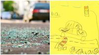 Bocah ini jadi saksi mata kecelakaan, bantu polisi lewat sketsa sederhana. (Sumber: Siakapkeli/Liputan6)