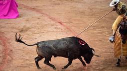 Seorang matador menusukkan tombaknya ke seekor banteng dalam saat bertarung dalam Festival San Fermin, Pamplona, Spanyol, Selasa (9/7/2019). (AP Photo/Alvaro Barrientos)