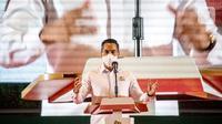 Wakil Ketum Kadin Bidang Organisasi, Keanggotaan dan Pemberdayaan Daerah Anindya N Bakrie memberikan sambutan pada pelantikan pengurus Kadin Sumsel di Palembang, Kamis (25/3/2021). Anindya Bakrie berharap, Kadin harus optimis pada upaya peningkatan ekonomi di Sumsel. (Liputan6.com/Pool/Kadin)