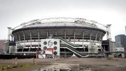 Penggantian nama stadion dari Amsterdam ArenA menjadi Johan Cruyff ArenA resmi dimulai pada awal musim 2018/2019 setelah peluncuran logo baru stadion pada 25 April 2018 yang bertepatan dengan tanggal kelahiran sang legenda. (AFP/Pieter Stam de Jonge/ANP)