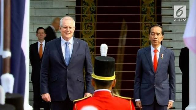 Jokowi menyambut kedatangan PM Australia Scott Morison di Istana Bogor. Kunjungan ke Indonesia adalah kunjungan pertama Scott Morison sejak terpilih sebagai PM Australia